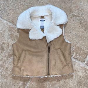 Old navy 18-24 suede fur baby girl vest
